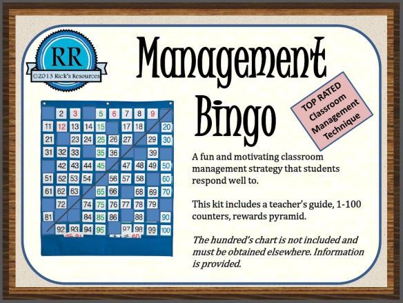 "FREE Classroom Management BINGO~ This technique requires that you display a hundreds chart. Put the purchased number cards on the displayed chart, and then put tiny pieces of paper with the numbers 1-100 on them, in a jar. When students earn an incentive, pull a number from the jar, and then remove the matching number from the chart. Similar to BINGO the students ""win"" when they clear a row of ten in any direction. On average, kids need to earn about 60 numbers to clear a row. Love this idea!"