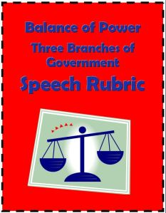 FREE Speech Rubric: Powers of Government Branches~ Formattable WORD documents include a parent letter and one-page rubric. Introduce and evaluate student speeches about the balance of powers among the judicial, executive, and legislative branches. Students easily understand how their preparation, 1-to-3 minute speech, and presentation will be evaluated. Easy-to-use checklist assesses student's effort, content, and delivery.