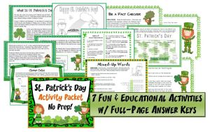 St. Patrick's Day Activity Pack~ Seven fun, easy-to-use activities w/ full-page answer keys. No Prep! Print and Go!