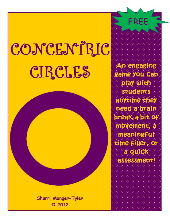 FREE Activity~ Concentric Circles is an engaging game you can play anytime students need a brain break. It's perfect for incorporating think-pair-share with movement for those kinesthetic learners! Circle up any time you want to review content, have students re-teach concepts to one another, move concepts from short-term memory to long-term memory, or summarize a reading assignment. This quick, easy activity also comes with lots of ideas to get you started!