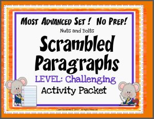 Scrambled Paragraphs (Challenging Level)~ Nine ready-to-use printables. Just copy and go! This NO PREP activity packet contains the fourth download of Scrambled Paragraphs– the most challenging set, so far! Students will use transitions (EX: suddenly, start, and next) and inferential clues to correctly organize each scrambled paragraph.