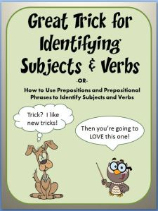 """This 88-slide PowerPoint teaches students to easily identify the subject and verb of a sentence. The entertaining lesson contains animations, cartoon characters, and humorous dialogue. Students learn a """"trick"""" for identifying subjects and verbs– eliminate prepositional phrases from the sentence. Any student with a basic understanding of nouns and verbs will enjoy success with this approach. Includes a list of common prepositions and practice worksheet!"""