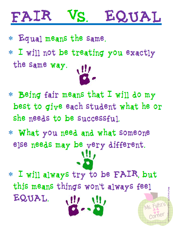 Free Poster Fair vs. Equal~ Great way to help students understand the difference between everyone getting the same thing, and everyone getting what they need!