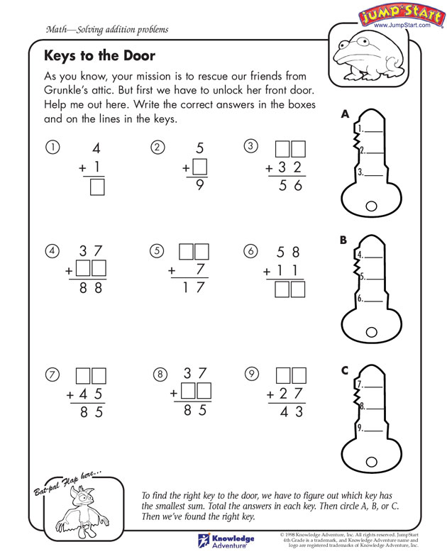 Fun Math Worksheets For 4th Grade Davezan – 4th Grade Math Worksheets with Answer Key