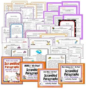 Scrambled Paragraphs 4-in-1 BUNDLE Activity Packets~ Four of my most popular products for 20% off the total price. Students use a structured template, as well as transition and inference clues to practice creating logical, organized paragraphs. This bundle contains the following four Scrambled Paragraphs products in a single, compressed file: Introduction, Basic, Intermediate, and Challenging. Fun way for students to learn how to logically organize their writing!