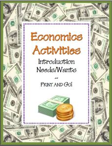 Needs & Wants Economics Activities~ Four (4) ready-to-use worksheets with teaching suggestions and full-sized answer keys -AND- a reading selection and word search that introduces basic economics concepts. Just print and go! This lesson is part of a companion product.