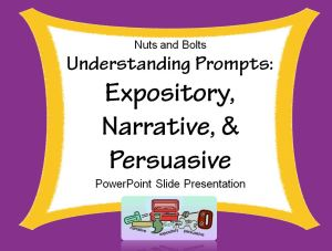 Animated PowerPoint introduces the three (3) types of writing: expository, narrative, and persuasive. Students learn key words that signal each type of writing. Knowing what the prompt requires makes writing easy!