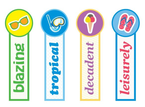 Summer Themed Bookmarks~  Colorful bookmarks build kids' vocabulary while marking the spot in their favorite book!