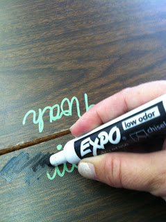 Tagless Desk Name Tags~ Sharpie Paint pens are the secret to writing student names right on desks. No picking, peeling, or rubbing off. A dry erase marker and tissue easily removes the name at year's end. Check out this and other interesting blog posts at Timeout and Tootsie Rolls!